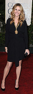 Julia Roberts Black Wrap Dress at Golden Globes
