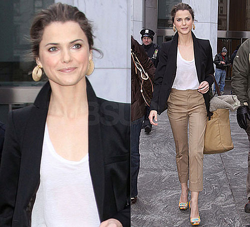 Photos of Keri Russell in NYC Wearing Blazer, Cropped Khakis, and Roger Vivier Pumps