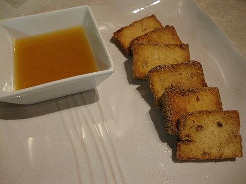 Crispy Tofu Slices with Orange Dipping Sauce