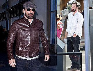 Photos of Jon Hamm With a Beard Leaving LAX and Heading to NYC For His SNL Appearance