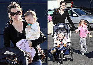 Photos of Jennifer Ganer, Violet and Seraphina Affleck at the Brentwood Farmers Market