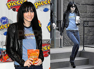 Photos of Ashlee Simpson at a Reeses Pieces Event in NYC Wearing a Black Leather Jacket