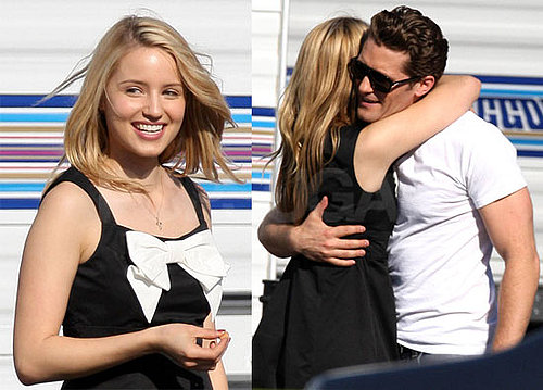Photos of Dianna Agron and Matthew Morrison Hugging on the Set of Glee