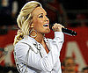 Slide Photo of Carrie Underwood Performing the National Anthem at the Super Bowl