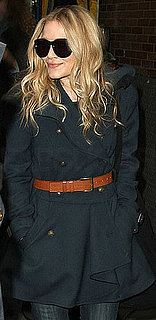Mary-Kate Olsen Wearing Brown Equestrian Belt and Pea Coat in NYC