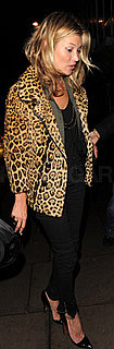 Kate Moss Wears Leopard Coat in London