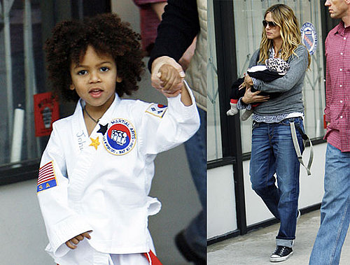 Photos of Heidi Klum and Baby Lou Bringing Johan to Karate Class in LA