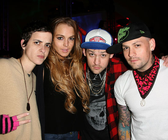 Samantha Ronson and Lindsay Lohan joined the Madden brothers for a party hosted by ESPN in 2009.