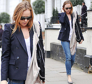 Stella McCartney in Leopard Print Flats and Blue Blazer in London