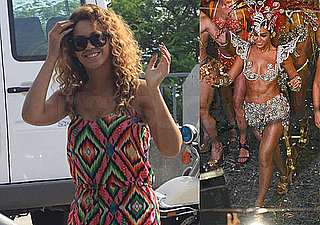 Photos of Beyonce in a Bright Jumper and Traditional Samba Costume in Brazil