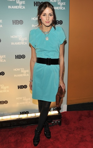 Olivia Palermo in Sky Blue Dress at How to Make It in America in NYC