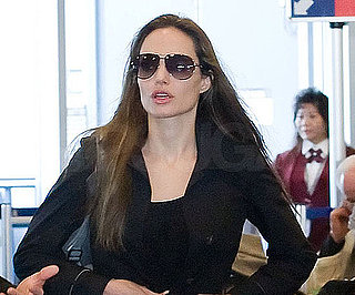 Slide Photo of Angelina Jolie at LAX After a Trip to Haiti and the Super Bowl