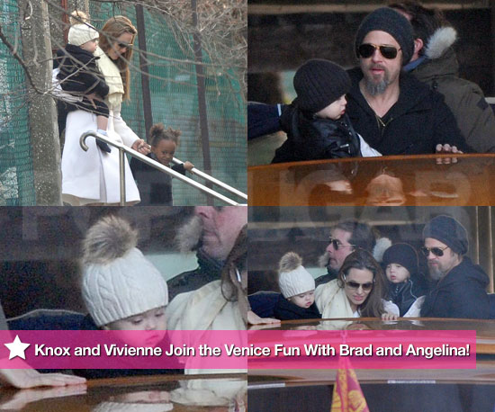 Jolie-Pitt Twin Sighting — Check Out Knox and Vivienne in Venice With Brad and Angie!