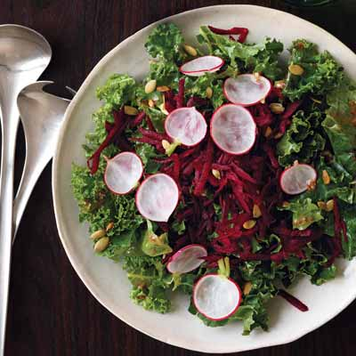 Crisp and Easy Raw Kale and Beet Salad