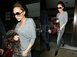 Photos of Victoria Beckham Arriving at LAX Wearing a Casual Gray Sweater and Jeans