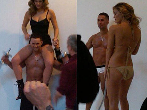 "Photos of Mike ""The Situation"" Sorrentino of Jersey Shore Doing a Shoot For Interview Magazine With a Bikini-Clad Bar Refaeli"