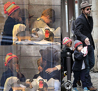 Photos of Brad Pitt Shopping at Bonpoint in Paris With Zahara Jolie-Pitt and a Shy Shiloh Jolie-Pitt