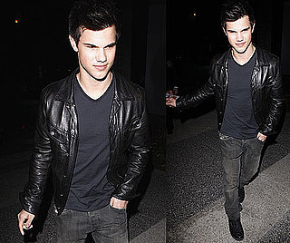 Photos of Taylor Lautner Wearing a Black Leather Jacket Leaving Boa Restaurant in LA