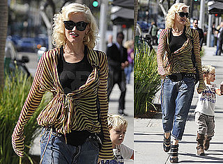 Photos of Gwen Stefani Wearing a Striped Shirt and Kingston Rossdale Running Around in LA
