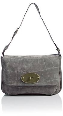 Mulberry Grey Bayswater Suede Croc Print Bag