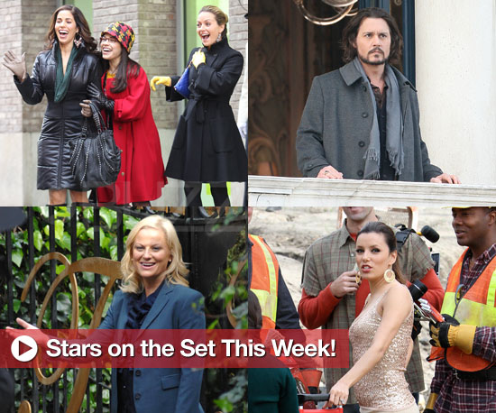 Photos of Celebrities on Set Including Johnny Depp, Amy Poehler, Eva Longoria, Liam Neesom