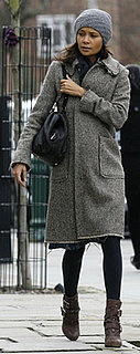 Thandie Newton Wears Brown Buckle Boots in London