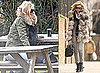 Photos of Kate Moss at a Pub in the Cotswolds, Wearing Fur to Lunch in London