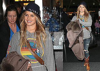 Photos of Jessica Simpson Arriving at JFK to Promote The Price of Beauty