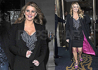 Photos of Jessica Simpson Leaving Her New York City Hotel Wearing a Black Jacket and Heels
