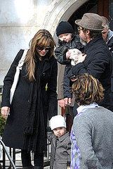 Angelina Jolie and Brad Pitt board a canal boat in Venice with their twins Knox and Vivienne