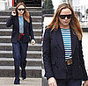 Stella McCartney in London in Green Striped Tee on St. Patrick&#039;s Day