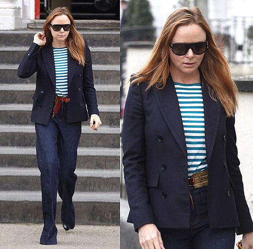 Stella McCartney in London in Green Striped Tee on St. Patrick's Day