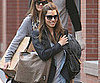 Slide Photo of Jessica Biel Leaving New York Apartment with Luggage