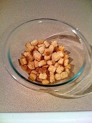 Stale bread = Homemade croutons!