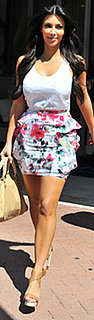Kim Kardashian Wears Floral Skirt in Miami