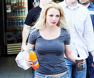 Slide Photo of Britney Spears With Red Lipstick and Blond Hair in Los Angeles