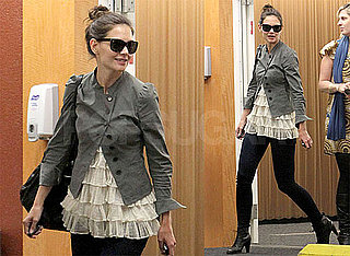 Photos of Katie Holmes Wearing a Ruffled Shirt and Sunglasses in Los Angeles