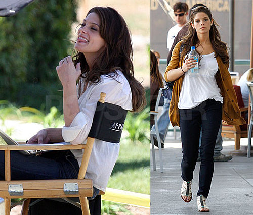 Photos of Ashley Greene Wearing a White Shirt on the Set of Apparition in Los Angeles