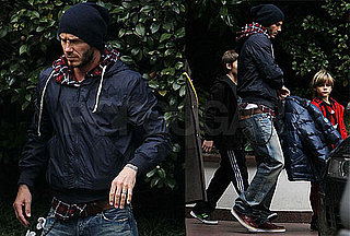 Photos of David Beckham With Romeo and Brooklyn in Milan