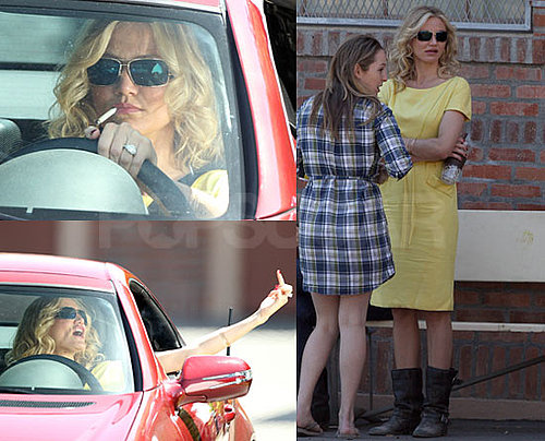 Photos of Cameron Diaz Smoking And Giving The Middle Finger On Set of Bad Teacher in LA