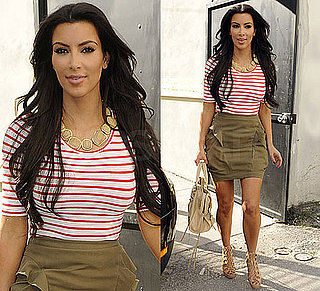 Kim Kardashian in Striped Shirt in Miami