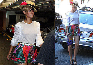 Pictures of Rihanna Showing Off Her Legs in a Short Floral Skirt