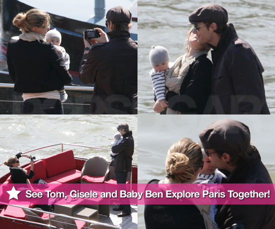 Pictures of Gisele Bundchen, Tom Brady and Benjamin Brady in Paris