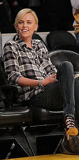 Charlize Theron Sits Courtside at Lakers Game Wearing Plaid Shirt