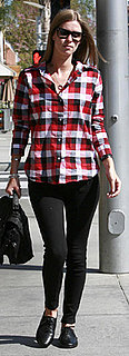 Nicky Hilton Wears Red Plaid Shirt in Beverly Hills