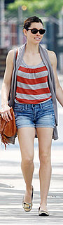 Jessica Biel Wears Striped Tank and Jean Shorts in NYC