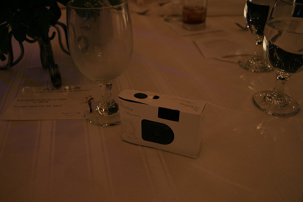 Disposable cameras on tables