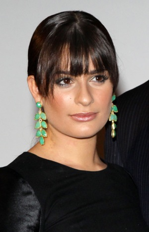 Glee Star Lea Michele in Big Jade Earrings