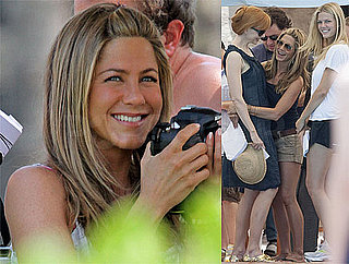 Pictures of Jennifer Aniston in Shorts Filming Just Go With It With Nicole Kidman, Brooklyn Decker and Kissing Adam Sandler