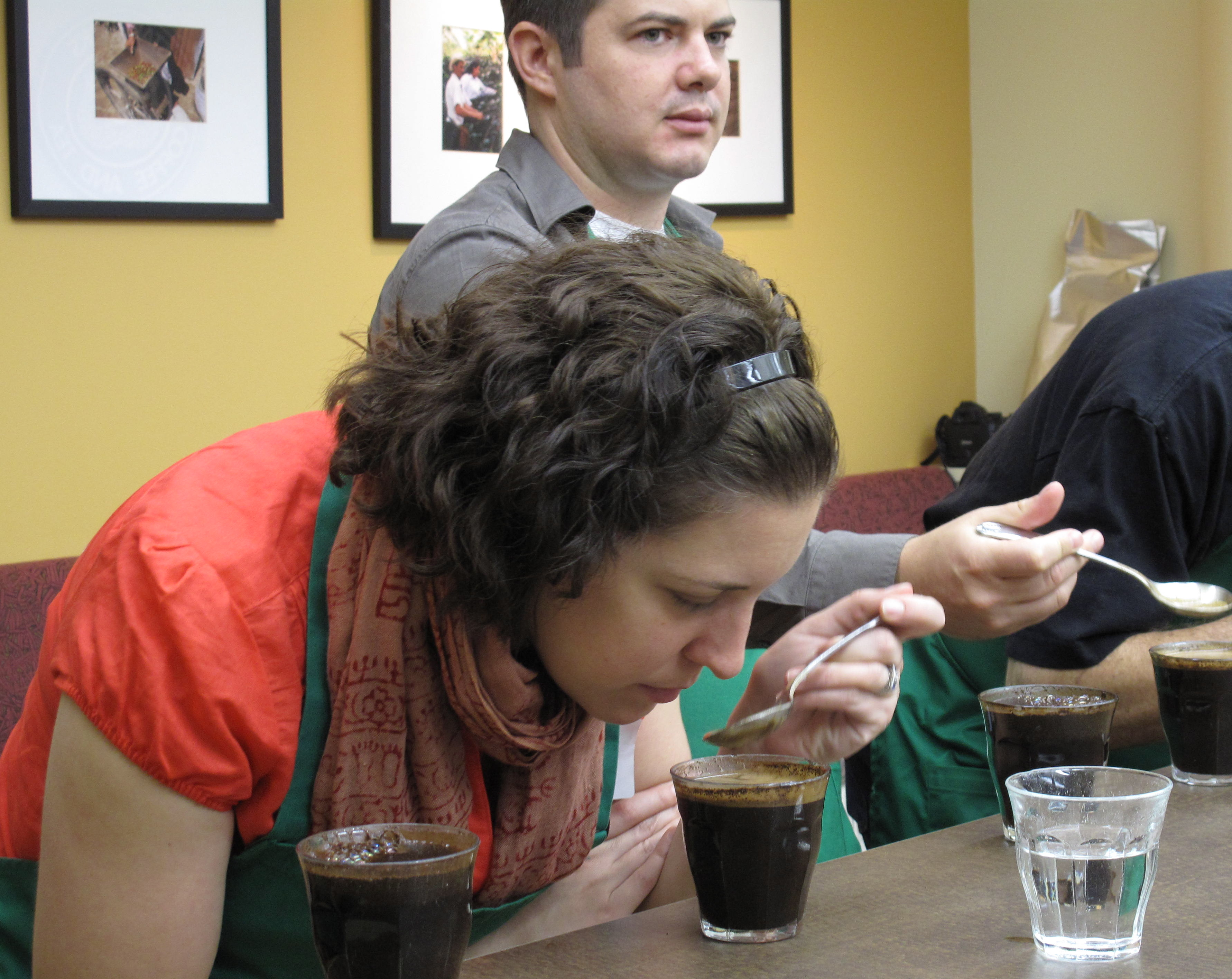The first step in cupping is to note any prominent aromas.